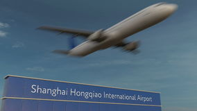 Aeroplano comercial que saca en la representación editorial 3D del aeropuerto internacional de Shangai Hongqiao fotografía de archivo libre de regalías