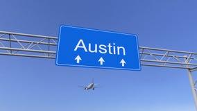 Aeroplano commerciale che arriva all'aeroporto di Austin Viaggiando alla rappresentazione concettuale 3D degli Stati Uniti immagini stock libere da diritti
