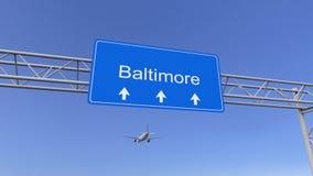 Aeroplano commerciale che arriva all'aeroporto di Baltimora Viaggiando alla rappresentazione concettuale 3D degli Stati Uniti Fotografie Stock Libere da Diritti