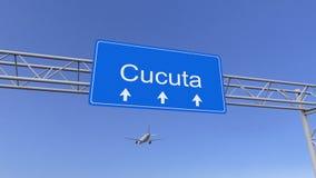 Aeroplano commerciale che arriva all'aeroporto di Cucuta Viaggiando alla rappresentazione concettuale 3D della Colombia immagine stock libera da diritti