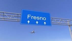 Aeroplano commerciale che arriva all'aeroporto di Fresno Viaggiando alla rappresentazione concettuale 3D degli Stati Uniti Fotografie Stock Libere da Diritti