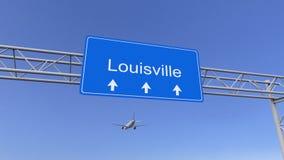 Aeroplano commerciale che arriva all'aeroporto di Louisville Viaggiando alla rappresentazione concettuale 3D degli Stati Uniti fotografia stock libera da diritti