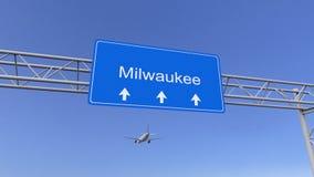 Aeroplano commerciale che arriva all'aeroporto di Milwaukee Viaggiando alla rappresentazione concettuale 3D degli Stati Uniti Immagini Stock Libere da Diritti