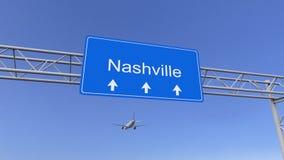 Aeroplano commerciale che arriva all'aeroporto di Nashville Viaggiando alla rappresentazione concettuale 3D degli Stati Uniti Fotografia Stock