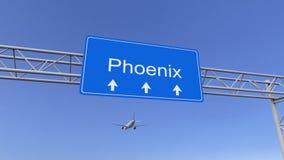 Aeroplano commerciale che arriva all'aeroporto di Phoenix Viaggiando alla rappresentazione concettuale 3D degli Stati Uniti Immagine Stock