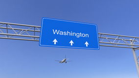 Aeroplano commerciale che arriva all'aeroporto di Washington Viaggiando alla rappresentazione concettuale 3D degli Stati Uniti Fotografia Stock Libera da Diritti