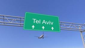 Aeroplano commerciale del motore gemellato che arriva all'aeroporto di Tel Aviv Viaggiando alla rappresentazione concettuale 3D d Fotografie Stock