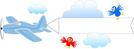 Aeroplano con la bandiera in bianco/ENV royalty illustrazione gratis