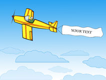 Aeroplano con la bandierina in bianco Fotografie Stock Libere da Diritti