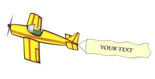 Aeroplano con la bandierina in bianco Fotografia Stock