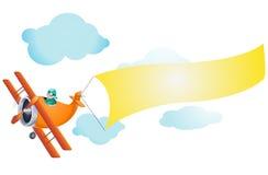 Aeroplano con la muestra en blanco ilustración del vector