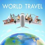 Aeroplano con la señal del World Travel sobre el mundo Imagenes de archivo