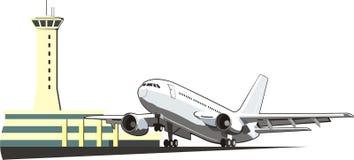 Aeroplano con la torre de control Imagenes de archivo