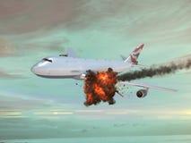 Aeroplano con un explotion en el cielo Foto de archivo