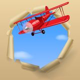 Aeroplano con una bandera Imagen de archivo libre de regalías