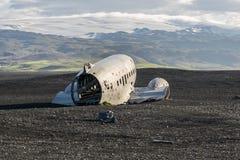 Aeroplano de Dakota en la playa Imagen de archivo