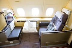 Aeroplano de Lufthansa Airbus A380 dentro de asientos Foto de archivo libre de regalías