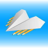 Aeroplano de papel armado con los lápices Graphhics del vector stock de ilustración