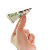 Aeroplano de papel del dólar fotografía de archivo
