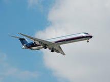 Aeroplano de plata del avión de pasajeros Imagen de archivo libre de regalías
