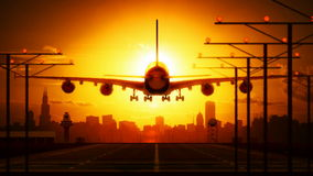 Aeroplano del aterrizaje almacen de video