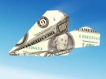 Aeroplano del billete de banco del dólar Imagen de archivo