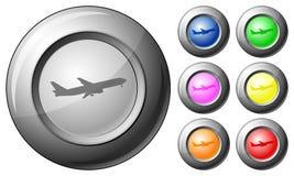 Aeroplano del botón de la esfera Imagenes de archivo