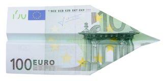 aeroplano del euro 100 Imagen de archivo libre de regalías