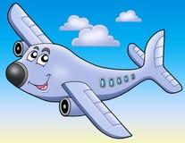 Aeroplano del fumetto su cielo blu Fotografia Stock Libera da Diritti