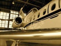 Aeroplano del jet in gancio Fotografia Stock