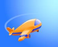 Aeroplano del juguete en el cielo Fotos de archivo libres de regalías