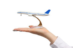 Aeroplano del juguete en la mano. imagen de archivo