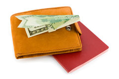 Aeroplano del pasaporte, de la carpeta y del dinero Foto de archivo libre de regalías