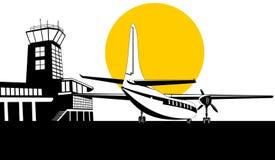 Aeroplano del propulsor con la torre ilustración del vector