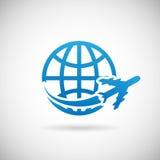 Aeroplano del símbolo del World Travel   Fotos de archivo libres de regalías