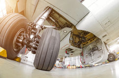 Aeroplano del tren de aterrizaje en primer del caucho del chasis del hangar imágenes de archivo libres de regalías