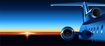 Aeroplano del vector en la salida del sol Fotos de archivo libres de regalías