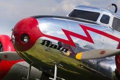 Aeroplano del vintage de Lockheed Electra 10A que se coloca en aeropuerto el 30 de abril de 2017 en Plasy, República Checa fotos de archivo libres de regalías