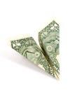 Aeroplano di carta del dollaro Fotografie Stock