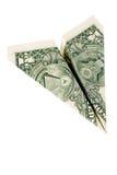 Aeroplano di carta del dollaro Immagine Stock