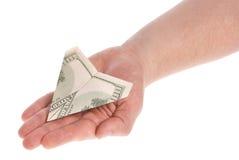 Aeroplano di carta del dollaro Immagini Stock Libere da Diritti