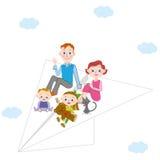 Aeroplano di carta e genitore e bambino Immagini Stock Libere da Diritti