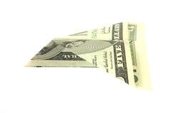 Aeroplano di carta piegato della fattura del dollaro cinque Immagine Stock
