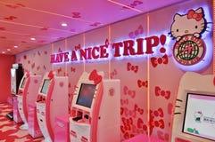 Aeroplano di Eva Air Hello Kitty Fotografie Stock