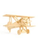 Aeroplano di legno isolato su wite Fotografia Stock