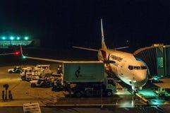 Aeroplano di Malaysia Airlines su terra fotografia stock