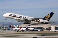 Aeroplano di Singapore Airlines Airbus A380 Fotografia Stock