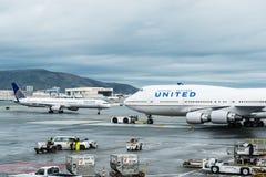 Aeroplano di United Airlines Boeing Fotografia Stock