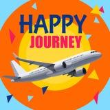 Aeroplano di volo con l'intestazione felice di viaggio illustrazione vettoriale