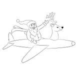 Aeroplano di volo di Santa Claus Fotografia Stock Libera da Diritti